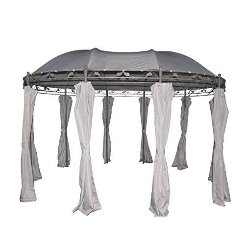 greemotion 128802 Nancy grau-Gartenpavillon 3x4 m-Event rund aus Metall-Gartenzelt wasserdicht & UV Schutz 50-Luxus Pavillon für den Garten, Hellgrau