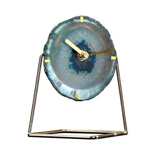 ZCZZ Reloj De Mesa, Reloj Decorativo De Ágata para El Hogar, Reloj De Personalidad con Pilas, Adecuado para Sala De Estar, Dormitorio, Estudio, Reloj De Oficina