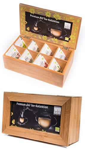 32er BIO Tee Set / Geschenk-Set / 8 Geschmacksrichtungen je 4 Stück / Teebeutel PREMIUM-KOLLEKTION TEEBOX MIT FENSTER Bambus Holzbox / Bambusbox / Vorratsbox auch für Erblühtee by Feelino