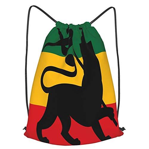 AndrewTop Bolsa Cuerdas con cordón impermeable Unisex,Bandera rastafari con imagen de diseño inspirado en la música reggae de Judah Lion,LigeroCasual ,Deporte Gimnasio Mochilas