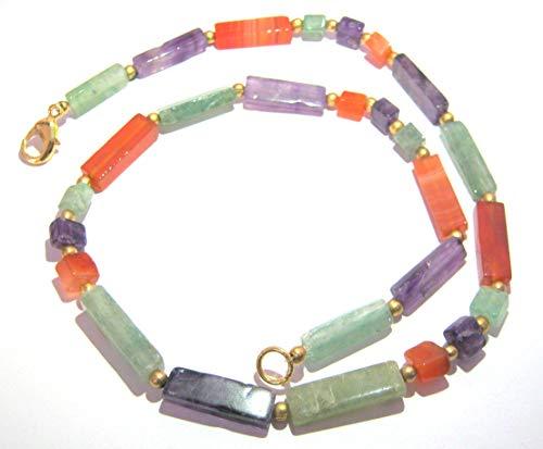 amatista carnalina verde collar de cuarzo cristal moda regalo mujer energía positiva metafísica Gema Chakra paz Wellness accesorio hecho a mano