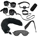 Set Séẍy Fluffy Fox Tail Bǔ-tt Pl'ǔġ Plush Cat Ears-Punk Gothic Leather Collar and Multicolor Leather Bell Collar Necklace Necklace, Suitable for Couples Cosplay, Party Sunglasses (Color : Black)