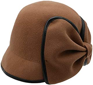 TOOGOO Women's Wool Fedora Hat Decorated Bow Tie Fedora Female Beret Fisherman Hat Khaki