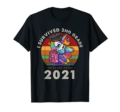I Survived 2nd Grade Class Of 2021 Graduation Retro Unicorn Camiseta