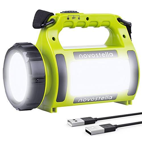 NOVOSTELLA Rechargeable LED Torch, Multi-functional Camping Light, Waterproof Outdoor Spotlight Searchlight, High Power Beam Flashlight, 650lm Lightweight Lantern, 2000mAh Battery