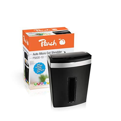 Peach PS600-10 Partikelschnitt Aktenvernichter, 90 Blatt, 20 Liter | 3 x 10 mm Partikel (P-5), Papier, Kreditkarten, Dauerbetrieb bis zu 10 min, geeignet für Neue Datenschutzgrundveror. DSGVO 2018