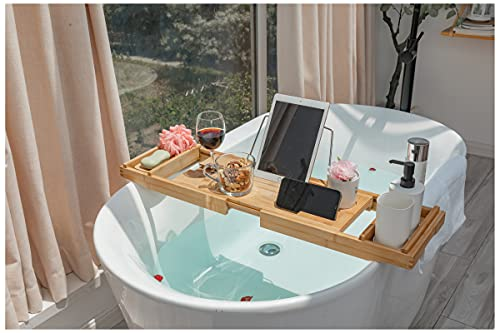 Bath Caddy Tray for Bathtub Bamboo Expandable Organizer Tray for Bathroom Luxury Spa Reading with Wine Holder Free Soap Dish