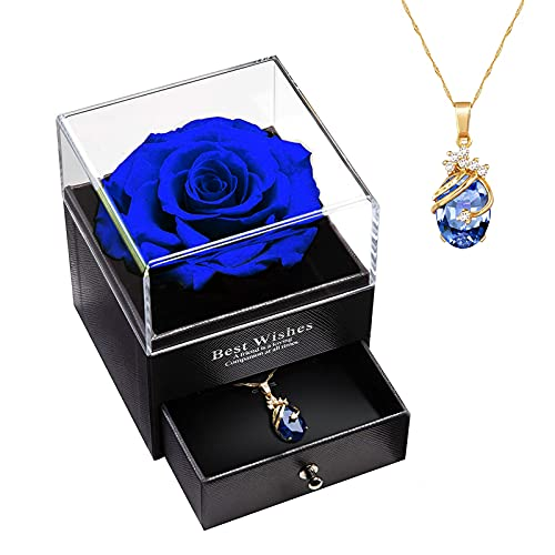 Rose Eternelle avec Collier, Cadeau de Boite a Bijoux, Boite de Roses Éternell pour Saint Valentin, Anniversaire, Engagement pour Femmes/Épouse