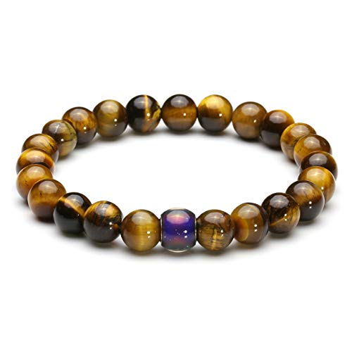 CrystalTears Mood Bracelet Colour Changing Pearl Bracelet Thermal Sensitive Beads Bracelet Stretch Bracelets Yellow Tiger Eye