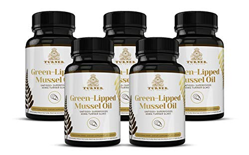 TURNER Green Lipped Mussel Oil New Zealand,  Omega 3 with UAF1000+, Joint Pain Relief and Inflammation Supplement, Heart and Immune Support, No Fishy Aftertaste,  450mg, 5 Pack, 300 Count