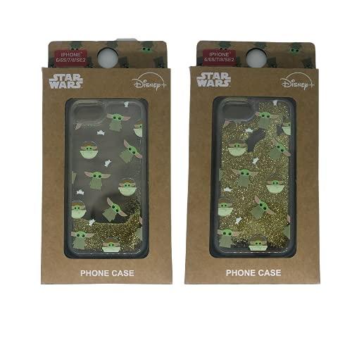 Carcasa de Silicona The Mandalorian Star Wars iPhone 6/6S/7/8/SE ¡La Purpurina se Mueve!