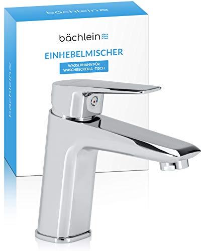 Bächlein Wasserhahn fürs Bad in klassischem Look, Einhebelmischer mit langlebiger Keramikkartusche, 2 Anschlussschläuchen und Montageschlüssel, Badarmatur Chrom