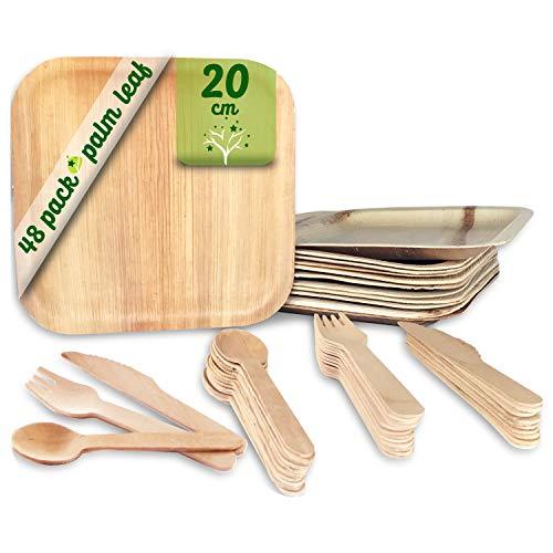 Vajilla desechable de 48 Piezas, 12 Platos de Hoja de Palma Cuadrados de 20 cm, Juego de Cubiertos de Madera Abedul de 12 cucharas, 12 Tenedores y 12 Cuchillos, Rustica, elegante y biodegradable