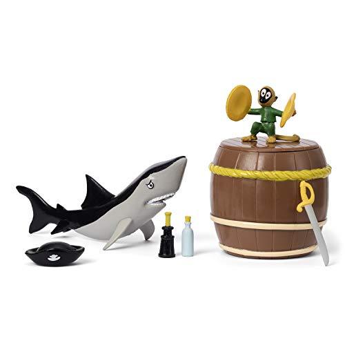 Micki & Friends 44380100 Pippi Langstrumpf Piraten-Set 7-teilig: Piratenhut, Schwert, Fernglas, Flaschenpost, Tonne, AFFE Herr Nilsson, Hai - Puppenhaus-Zubehör - ab 3 Jahre