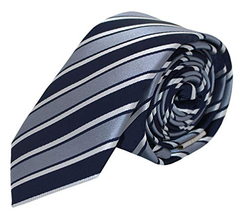 Fabio Farini - Elegante Herren Krawatte gestreift in 6cm und 8cm Breite in verschiedenen Farben für jeden Anlass wie Hochzeit, Konfirmation, Abschlussball Silber Dunkelblau Weiß