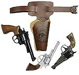 KarnevalsTeufel Wilder Westen Set für Erwachsene Gürtel-Tasche braun Pistole Cowboy-Sheriff-Set (Modell 2)