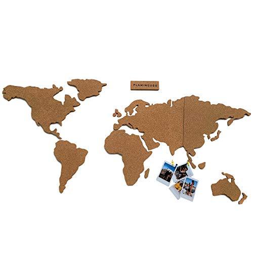 Flamingueo Mapa Mundi Corcho Pared - Mapa del Mundo con Chinchetas para Fotos Polaroid, Mapa para Marcar Viajes, Mapa del Mundo de Corcho para Colgar en la Pared, 45,5 x 100 cm (Mapa Mundi Corcho)