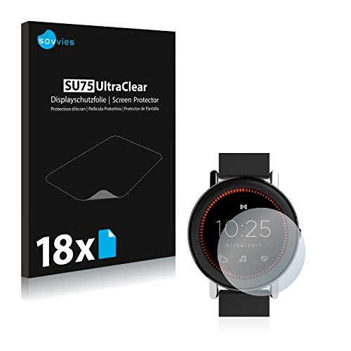 Savvies 18x Schutzfolie kompatibel mit Misfit Vapor Bildschirmschutz-Folie Ultra-transparent