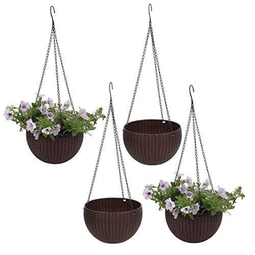 T4U Plastik Blumenampeln mit Ratten-Muster Rund, Hängepflanztöpfe für Innen- und Außenbereiche, Braun 4er-Set