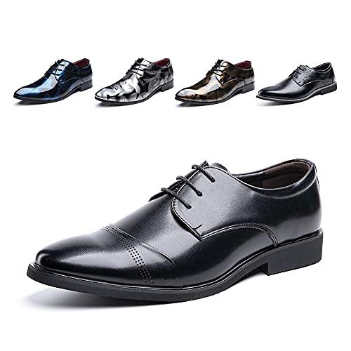 Derby Shoes for Men Business Oxford Shoes Brogue Patent Leather Mens Dress Shoes Lace-Ups Monk Formal Slip-On 2 Black UK 8.5