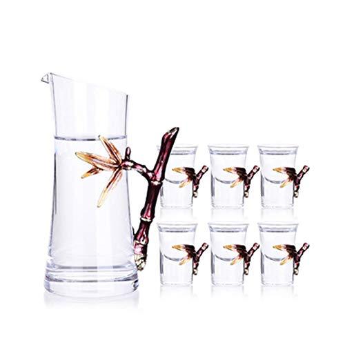 Decantador de whisky Decantador de vino Jarra de vino con esmalte creativo de color, taza de licor de bambú, bosque, siete sabios, juego de regalo de vino (color B: B)