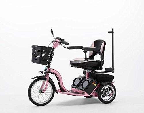 フランスベッドハンドル型三輪電動車いすS637スマートパル ピンク