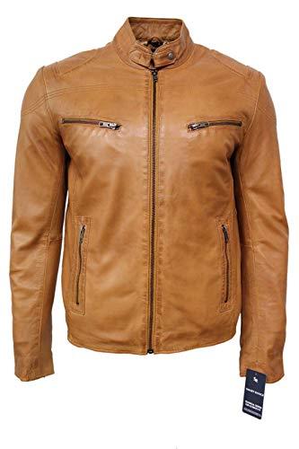 Hommes Biker Style Court Cuir Tan Nappa Doux (Agneau) de Vestes en Cuir véritable de Toutes Les Tailles (UK Large/EU 52)