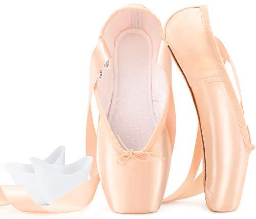 Zapatillas de Ballet de Punta Zapatillas de Danza Profesionales Rosadas con Cinta Cosida y Almohadillas de Silicona para niñas y Mujeres Rosado 42