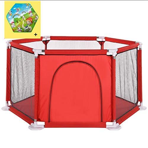 no brand Clôture Crawling Tout-Petits Parcs for Enfants Garde-Corps intérieur Jeux d'extérieur Sea Ball Pool avec Crawling Mat Playpen (Color : Red)