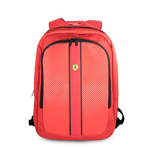 """Ferrari Computer Backpack Pit Stop Collection Scuderia 15"""" Nylon PU Carbon Dual Compartment for 15.6"""" MacBook Pro Bag and a Slim-Fit Pocket for an iPad, iPad Mini, or Tablet up to 10.1'' (Red)"""