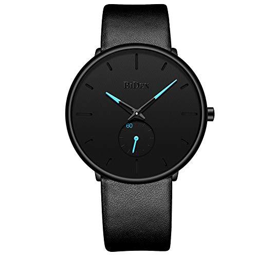 Men's Fashion Watches Ultra-Thin Quartz Analog Wrist Watch 30M Waterproof with Black Leather Band