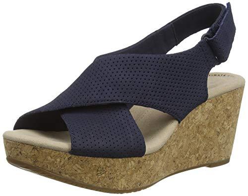 Clarks Women's Slingback Sling Back Sandals, Blue Navy Suede Navy Suede, 10.5