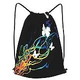 AndrewTop Bolsa Cuerdas con cordón impermeable Unisex,explosión de color con mariposas,LigeroCasual ,Deporte Gimnasio Mochilas