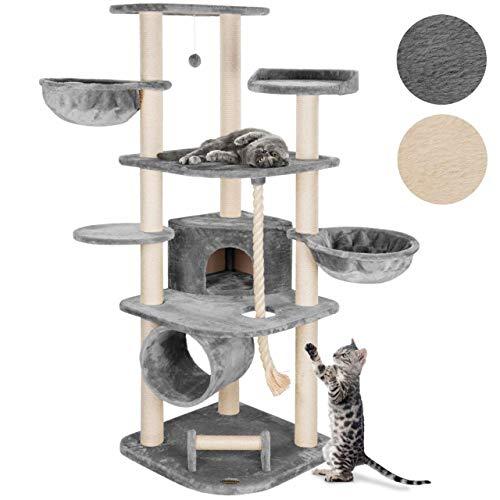 Happypet® MASSIVER Kratzbaum für Grosse Katzen 181 cm hoch CAT041 Kletterbaum Katzenbaum, 9cm Sisal-Stämme, Haus Spieltunnel, XXL-Liegemulden belastbar bis 15 kg, 5 Plattformen, Tau, Kratzrolle, GRAU