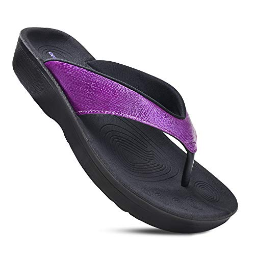 AEROTHOTIC Women's Comfortable Orthotic Flip-Flops Sandal (US Women 7, Matt Purple)