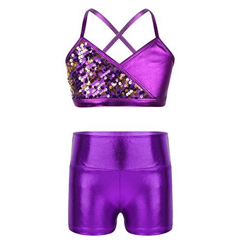 Aislor Mädchen Sport Tanz Outfit Metallic Tanzkostüm Sommer Kleidung Set Zweiteiler aus Tank Top + Shorts Hotpants als Bikini Badeanzug Gr.98-152 Violett 158-164