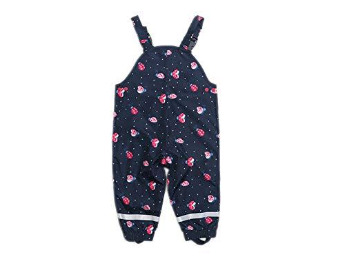 Kinder Baby MädchenRegnhose Regenlatzhose wasserdichte Atmungsaktiv Verstellbaren Trägern Buddelhose Matschhose mit Baumwollfutter (Marienkäfer, 92)