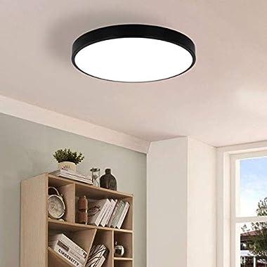 SOTTAE 2 Pack 9 Inch Modern Black Flush Mount LED Ceiling Light,3000K 12W Thin Round Ceiling Lamp,Surface Mount Ceiling Light