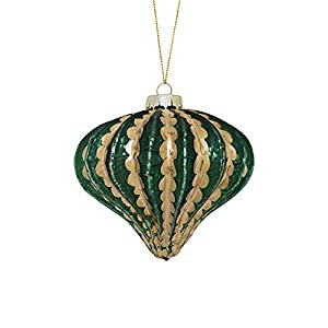 Green And Gold Onion Shaped Christmas Ornament Features striped pattern; fully dimensional ornament Comes ready to hang on a gold cord and a silver ornament cap Recommended for indoor decorative use only Ornament measures 5 inches high