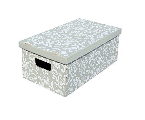 Kanguru Lavatelli, Conjunto De 3 Cajas En Cartón, Gris/Blanco, 29x51x21 cm, Flores