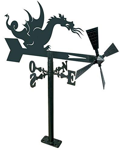 Arthifor Veleta de Viento para Jardín con Silueta de Dragón, Metal, Negro Mate