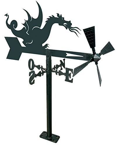 Arthifor Windspiel für Garten mit Dragon-Silhouette, Metall, Schwarz matt
