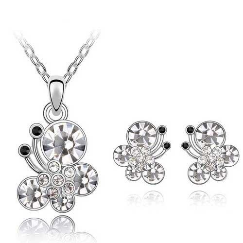 Sypure (TM) 2016Hot sale farfalla parure collana/orecchini con cristallo austriaco Animal Jewelry Set per le donne ST0009, b