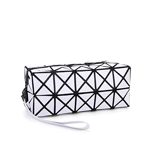 (Blanc) Sac à bandoulière cosmétique pour le maquillage, Geometric Foldable Rhombus Folding Grid Cube Handbag, Maquillage Tool Storage Pouch Purse Toiletry Bag Organizer
