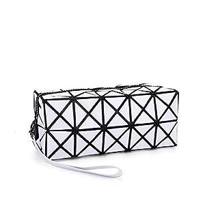 41+hStEfPIL. SS300  - Creativee La bolsa de asas cosmética para el maquillaje, geométrico bolso plegable plegable rejilla rombo Cubo Blanco