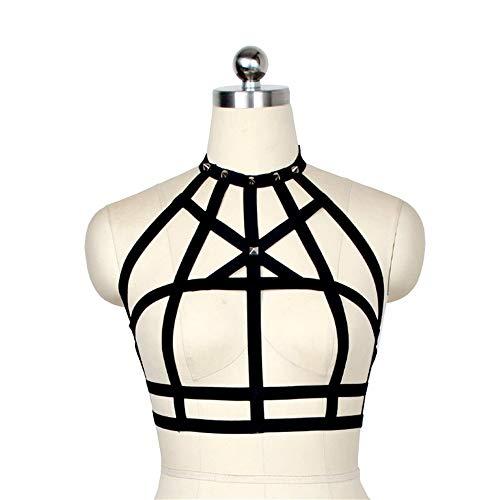 JWIL Damen Body Strap Ganzkörpergurt Sexy Dessous mit Riemen Verstellbarer, elastischer BH ohne Bügel Schwarz Punk einstellbare Größe (Color : Black, Size : One Size)