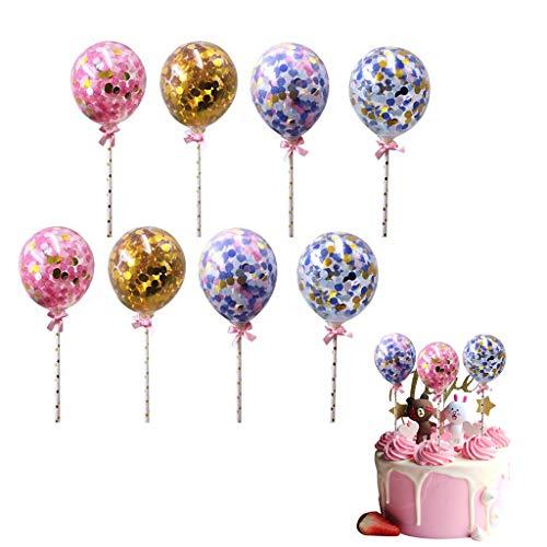 Formemory 8 Pcs Pailletten Ballons Kuchen Dekorieren Cupcake Topper,Deko Picker Kuchendeko/Tortendekoration,Cake Topper Deko Geburtstag Ballons für Mädchen Kinder Party