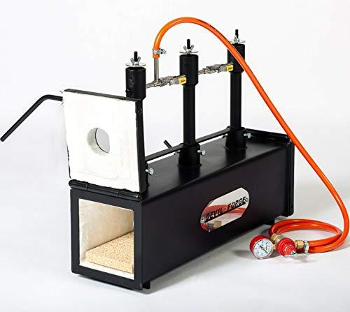 Forgia a gas propano – DFPROF3+2D | 3 bruciatori DFP (80,000 BTU) 2 porte | fabbri maniscalco realizzatori di coltelli lavori di forgiatura Bruciatori con valvole a sfera per gas Utilizzare 1, 2 o 3