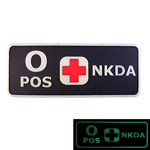 2AFTER1 PVC Rubber 3D GITD Touch Fastener Patch Blood Type NKDA Glow in The Dark Combat Tactical GID