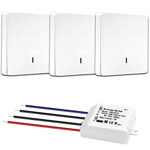 Kit de 3 interruptores inalámbricos, 3 mandos a distancia de pared + 1 receptor empotrable – Interruptor sin trabajo – Interior exterior – Control remoto para iluminación LED – Diseño moderno